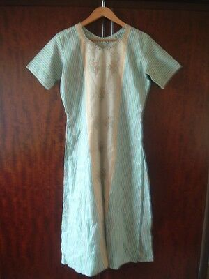 Beautiful shalwar kameez in turquoise, orange and beige fabric size approx 14