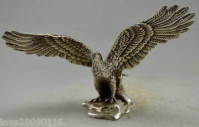 Collectible Decorated Old Handwork Silver Plate Copper Carve Flying Eagle Statue