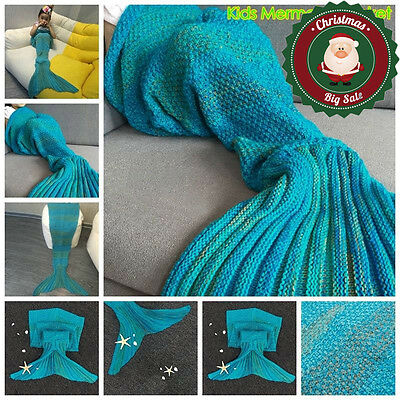 Mermaid Tail Blanket Crocheted Handmade Cocoon Sofa Beach Quilt Lapghan Rug Knit