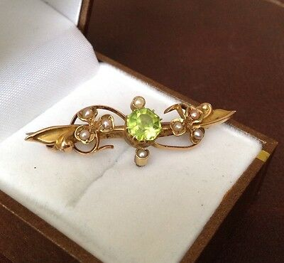 Antique 15ct Gold Brooch With Peridot & Seed Pearls