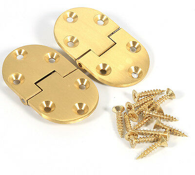 """2X Brass Butler Tray Hinge Preservative 2-1/2""""x1-1/2"""" With Screw Folding Flap ES"""