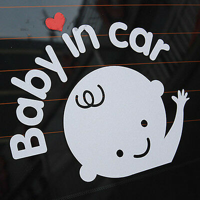 """Baby In Car"" Waving Baby on Board Safety Sign Cute Car Decal Vinyl Sticker_CA"