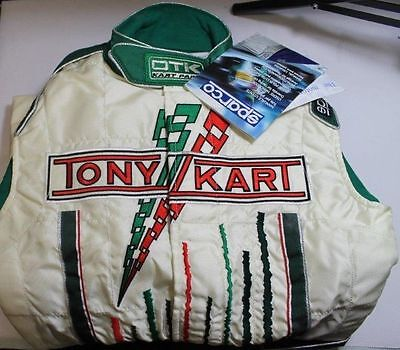Green & White Size 2 Sparco TonyKart / OTK Race Suit  - 150cm Clearance