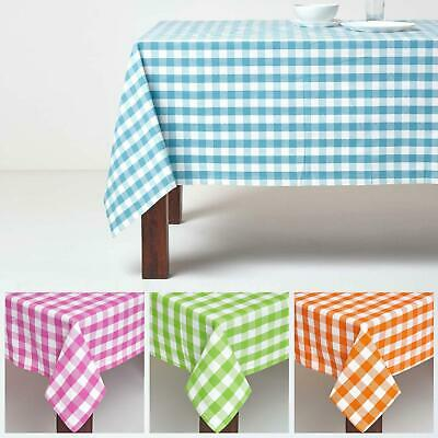 Block Check Tablecloth 100% Cotton Matching With Placemats, Napkins and Seat Pad
