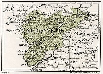 1923 map of Wales: old Merioneth ready-mounted antique print SUPERB
