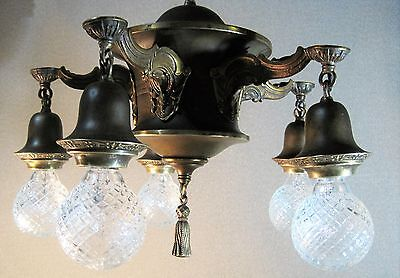 Chandelier Antique Brass Bronze Accents Early 1900`s Restored Unpolished