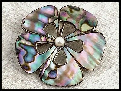 Vintage .925 Sterling Silver, Abalone Shell & Pearl, Brooch Or Pendant - Mexico