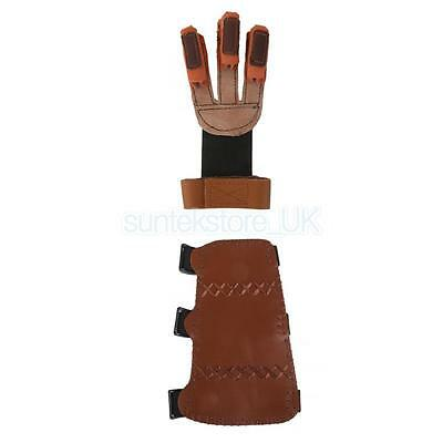 Leather Archery Shooting Hunting Three Finger Gloves + Arm Guard Protector