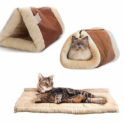 Kitty Cat Bed Mat Shack 2-in-1 Tunnel Self Heating Dog Pet Accessory Winter Warm