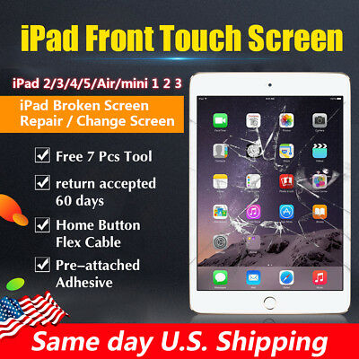 Front Touch Screen Digitizer Replacement For Apple iPad 2/3/4/Air/Pro mini 1 2