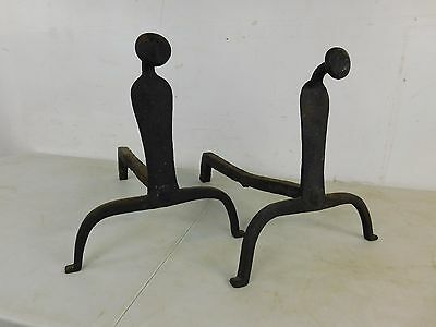 Wrought Iron Hand Forged  Firepace Andirons Arts Crafts Wrought Iron Hand Forged