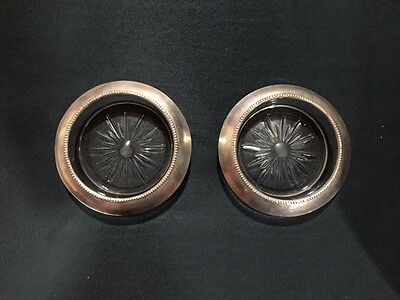 silver rimmed ash trays-Frank Whiting set of 2