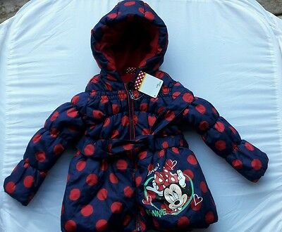 Girls Disney MinnieMous Hooded Padded Winter Coat Jacket 3-4Years XMAS GIFT BNWT