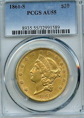 1861-S  Double Eagle Gold Coin Graded Au 55 By Pcgs