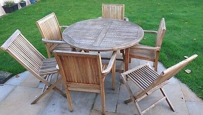 Garden Furniture Set Table & 6 Chairs Wood (must be seen)