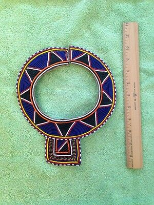 African Masai? Beaded Tribal Necklace, Bib Collar Necklace Leather Backing, EXC.