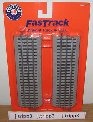 """Lionel 6-12032 10"""" Straight Fastrack Fast Track O Gauge Train Layout Lot 4-Pack"""