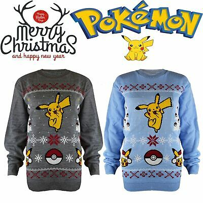 Kids Boys Girls Children Xmas Pokemon Christmas Jumper Knitted Dancing Pikachu