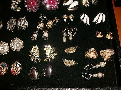 Lot of 25 Pair Vintage Clip On Earrings  Rhinestone Pearl Plastic Crystal