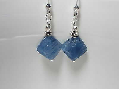 Blue Kyanite Diamond Shape Handmade, .925 Sterling Drop Earrings