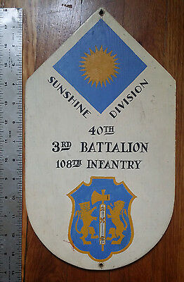WWII US Army 40th Infantry Div. Hand painted wooden sign insignia Sunshine