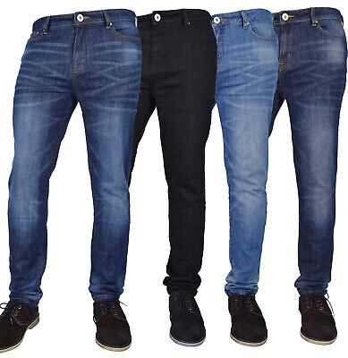 New Mens Flex Skinny Jeans Stretch Slim Fit Denim Pants All Waist & Length