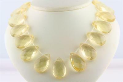 Citrine Briolette Drops Bead Strands Synthetic Lab Created Yellow gemstone