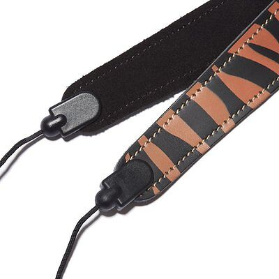 Beaumont Colourful Leather Neck Strap/Sling Clarinet/Oboe OrangeTiger Funky