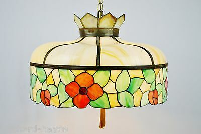 Antique Tiffany Style Bent Glass Chandelier, Flower Motif