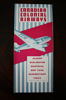 Timetable Cca Canadian Colonial Airways From 1941 Very Rare