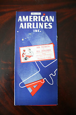 Timetable American Airlines Inc. December 1937 Very Rare