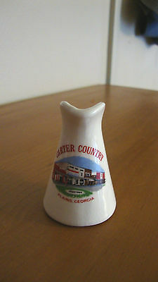 VINTAGE CARTER COUNTRY PLAINS, GA SOUVENIR China Pitcher USA ABOUT 3IN