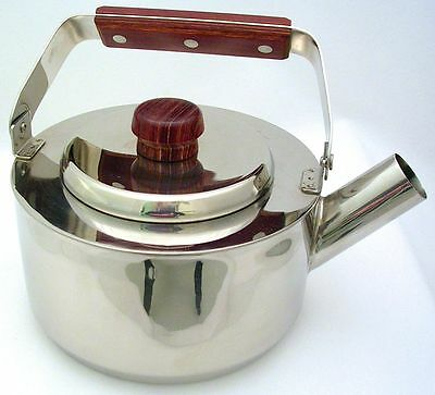 Vintage FABERWARE Stovetop 1.5qt. STAINLESS Steel KETTLE w/ROSEWOOD Accents