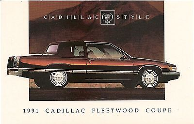 1991 Cadillac Fleetwood Coupe Automobile Advertising Postcard