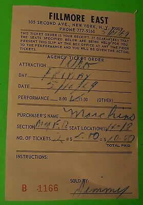 The Who Rare Fillmore East 1969 Concert Ticket Voucher Keith Moon