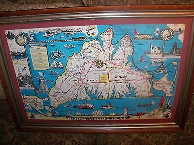 Vintage Map of Martha's Vineyard Island from the mid-century in color