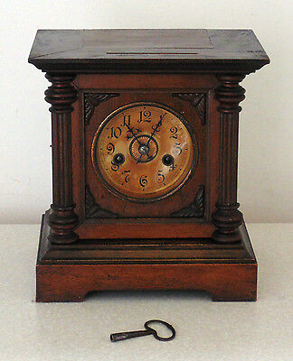 Antique Vintage Badische Uhrenfabrik Black Forest German Mantel Mantle Clock