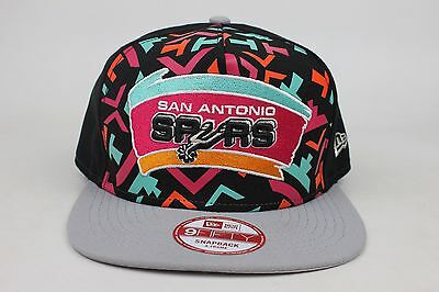 dcd8eeb3 San Antonio Spurs Black / Gray / Logo Mural A-Frame New Era 9Fifty Snapback