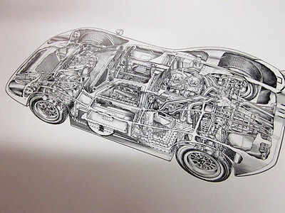 Ford Mk Iv Gt40 Exploded Cutaway Drawing Poster Nos