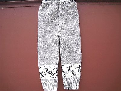 Homemade Knitted pants for kids 100% sheep wool yarn Russian craft