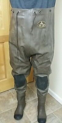 Sz 10 Rubber Chest Waders Pro Line Mfg. Co Brown w/ Black Knee pads Original Box