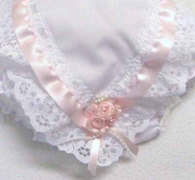 Baby Girls Frilly Knickers White With Lace And Pink Ribbon Trim
