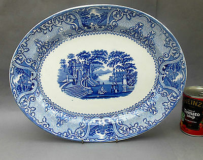 Antique Staffordshire Oval MEAT PLATE / Platter ~ PATRAS ~ Blue & White Transfer