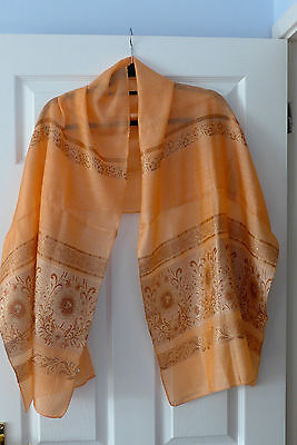 Vintage Chinese (silk?) long Scarf/Stole; apricot with woven floral pattern.