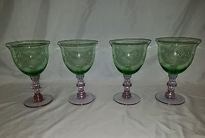 4 Vintage Watermelon Pink & Green Glass Etched Water Glass Goblets
