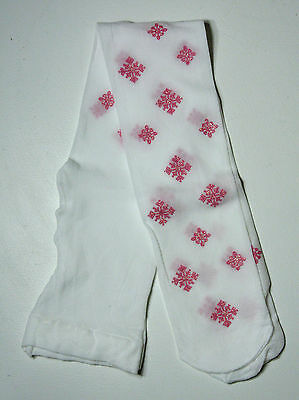 Girls White Tights with Bright Pink Snowflake Motif age 3-4 years NEW