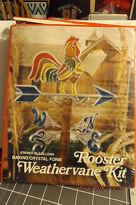 Stained Glass Look Baking Crystal Form Rooster Weathervane Kit