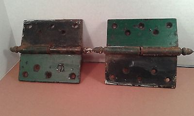 """""""Antique Door Hinges"""" Circa 1850's 5"""" by 5"""" (inches) Iron Original Green Paint"""