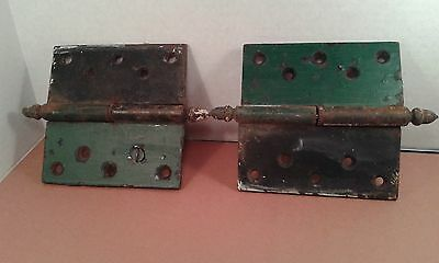 """Antique Door Hinges"" Circa 1850's 5"" by 5"" (inches) Iron Original Green Paint"