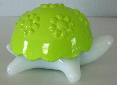 Vintage Avon Green And White Turtle Candle Holder